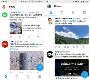 Twitter mueve la barra de navegación