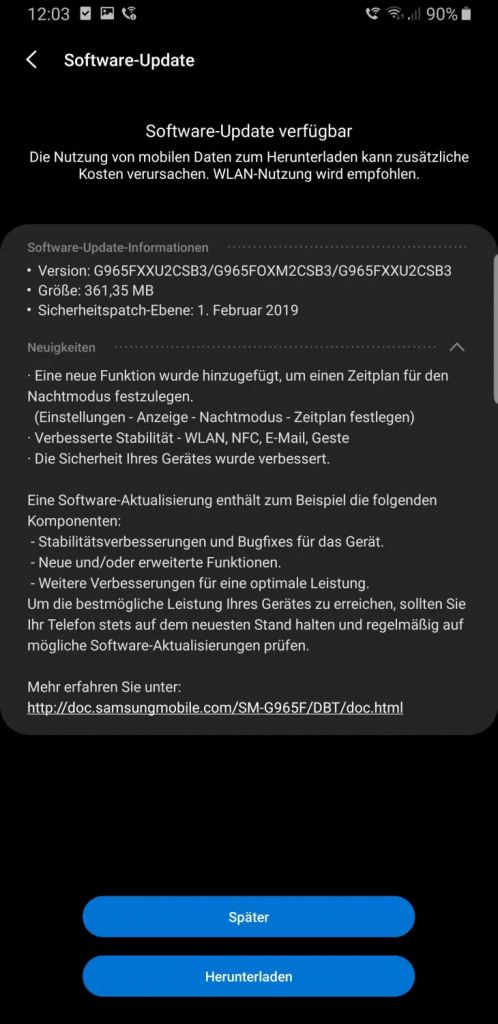 actualización samsung Galaxy s9