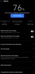 Porcentaje batería
